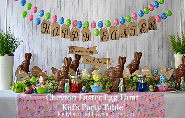 Chevron Easter Egg Hunt Kids Party Table