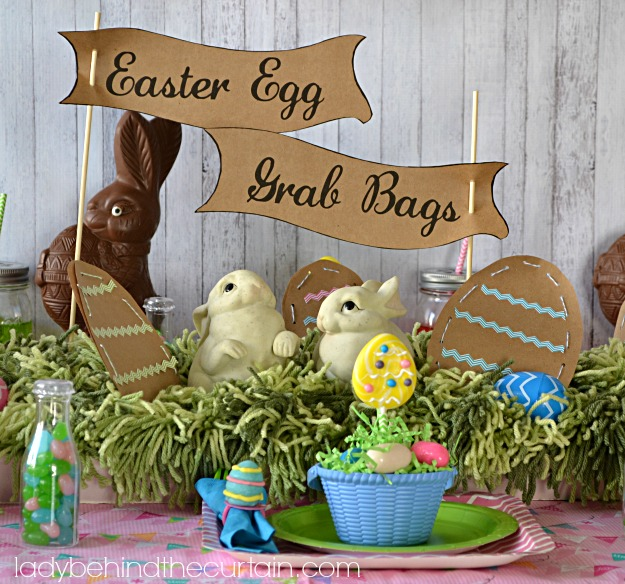 CENTERPIECE Chevron Easter Egg Hunt Kids Party Table