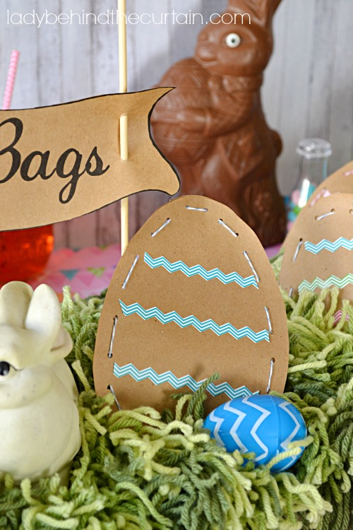 Chevron Easter Egg Hunt Kid's Party Table - Lady Behind The Curtain