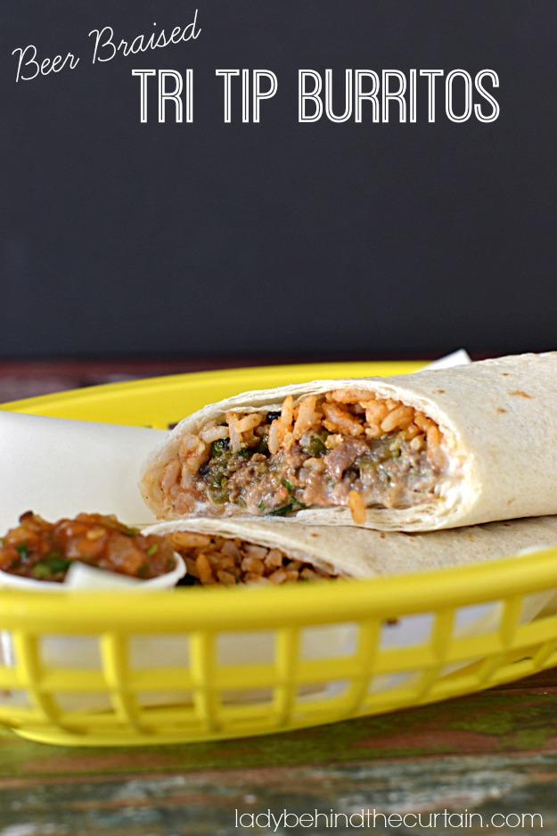 Beer Braised Tri Tip Burritos - Lady Behind The Curtain
