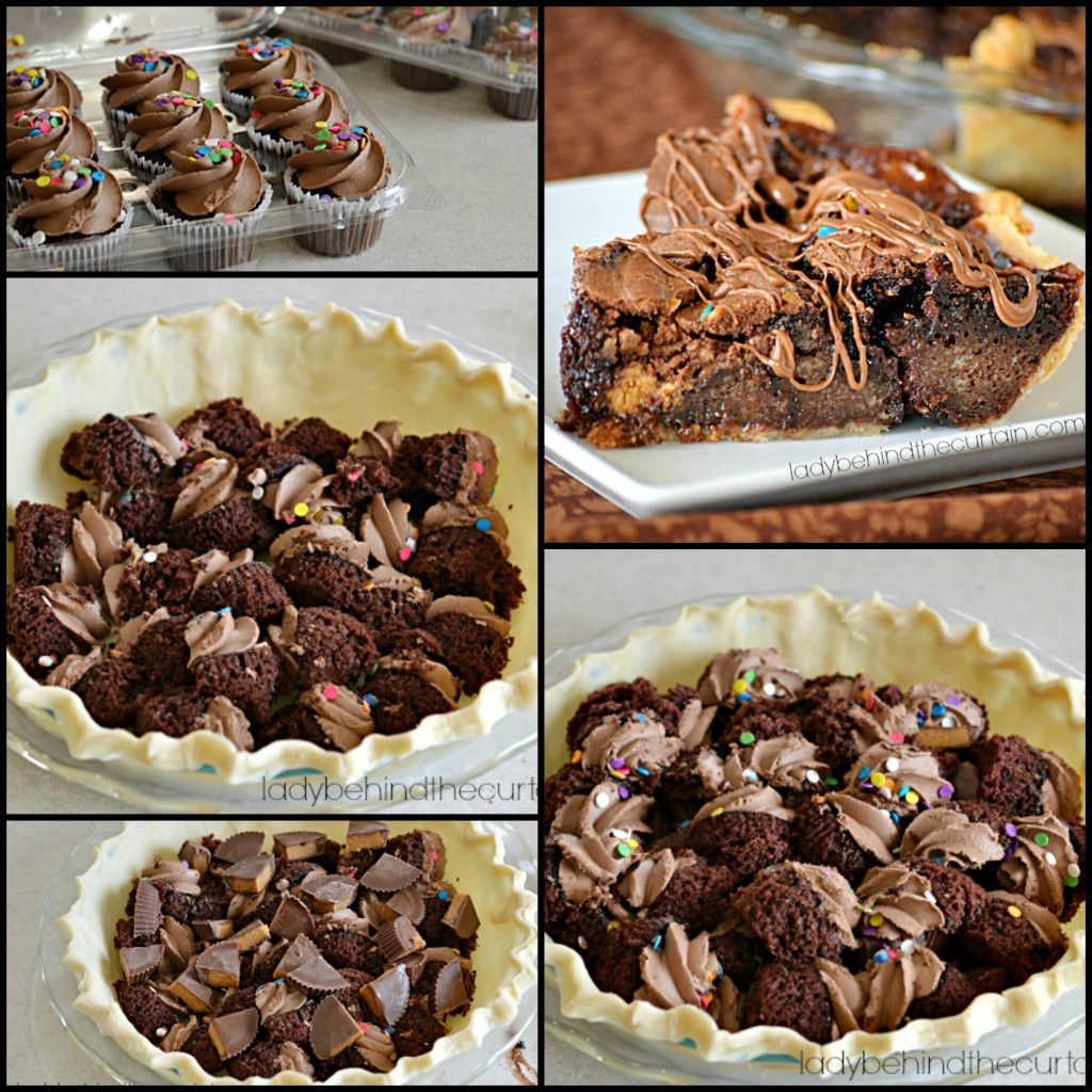 Peanut Butter Chocolate Cupcake Pie - Lady Behind The Curtain