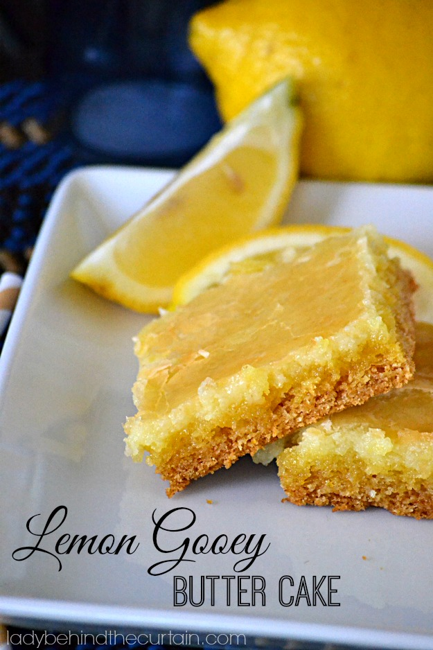Lemon Gooey Butter Cake - Lady Behind The Curtain