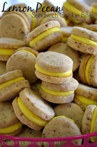 Lemon Pecan Sandwich Cookie Bites - Lady Behind The Curtain