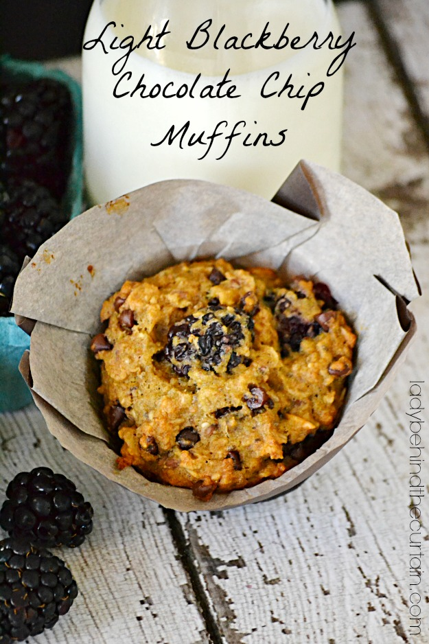 Light Blackberry Chocolate Chip Muffins - Lady Behind The Curtain