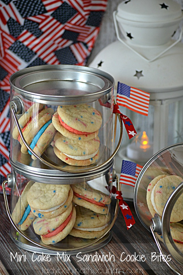 Mini Cake Mix Sandwich Cookie Bites - Lady Behind The Curtain