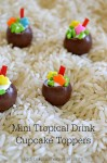 Mini Tropical Drink Cupcake Toppers