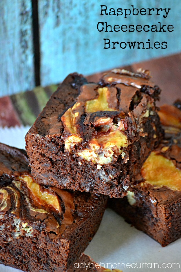Raspberry Cheesecake Brownies - Lady Behind The Curtain