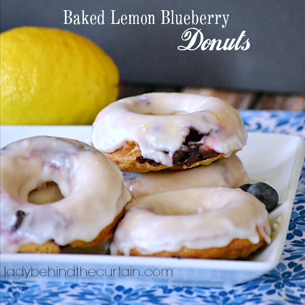Baked Lemon Blueberry Donuts - Lady Behind The Curtain