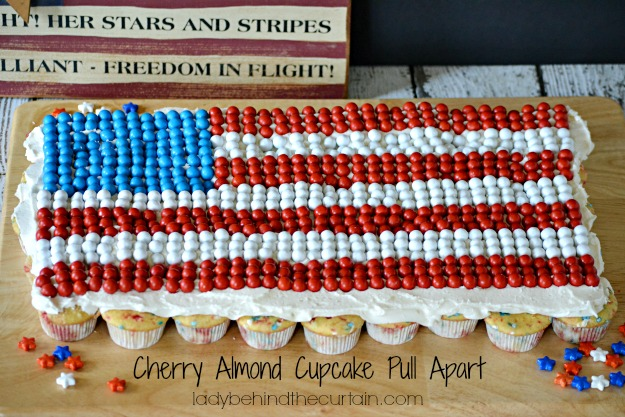 Cherry Almond Cupcake Pull Apart - Lady Behind The Curtain