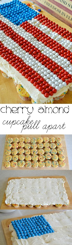 This Cherry Almond Cupcake Pull Apart is full of cherry flavored chips and made with a cake mix and 7-Up.
