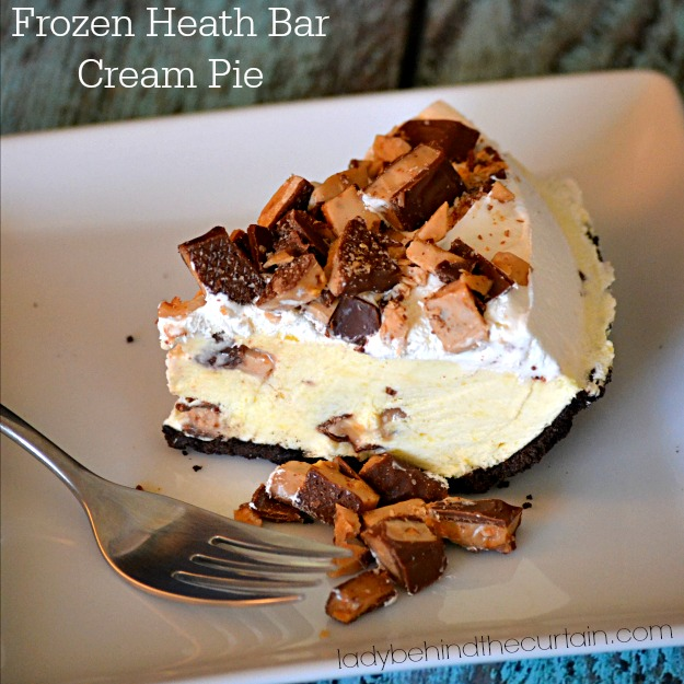 Frozen Heath Bar Cream Pie - Lady Behind The Curtain
