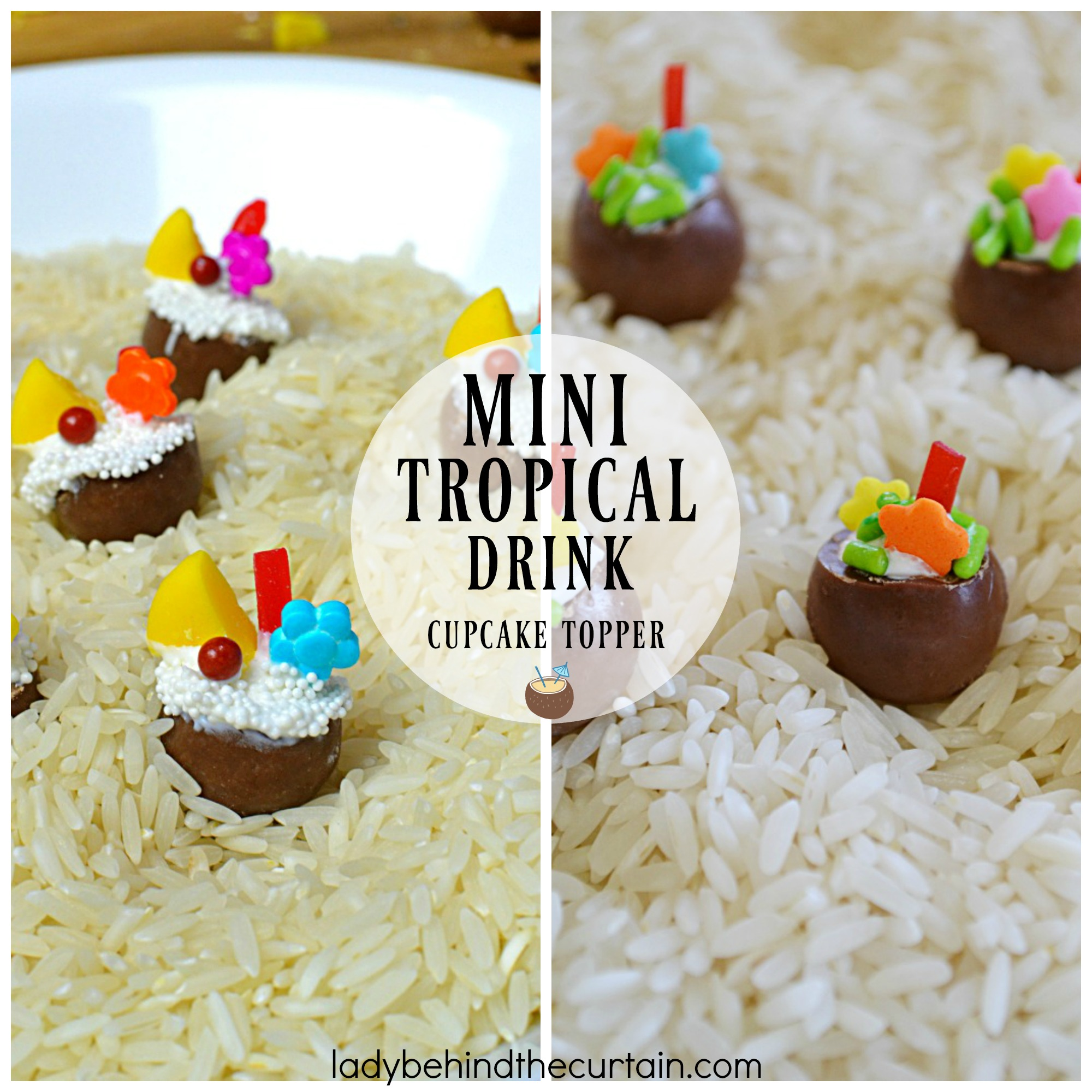 Mini Tropical Drink Cupcake Toppers | Make edible cupcake toppers and add some fun to your party! These adorable toppers are easy to make and will add something special to your cupcakes.