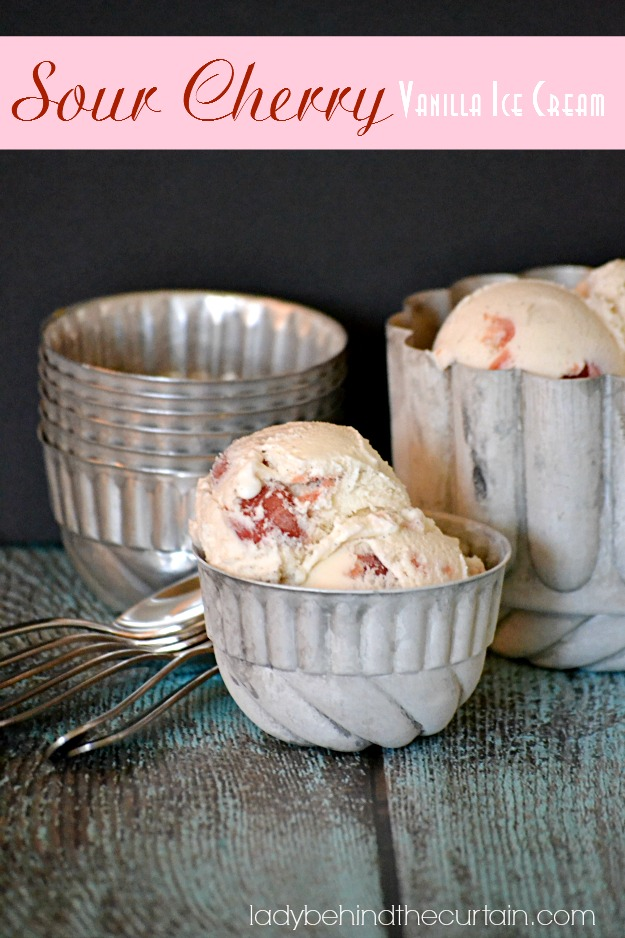 Sour Cherry Vanilla Ice Cream - Lady Behind The Curtain