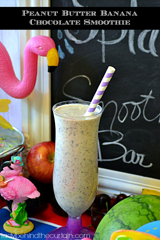 Peanut Butter Banana Chocolate Smoothie - Lady Behind The Curtain