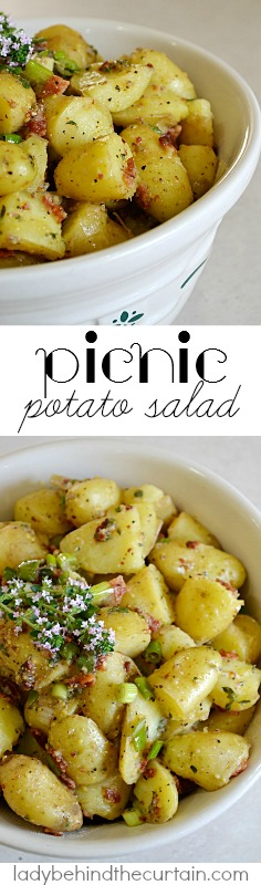 The reason I named this salad Picnic Potato Salad is because of its delicious vinegar, mustard dressing. Perfect to take to a picnic.