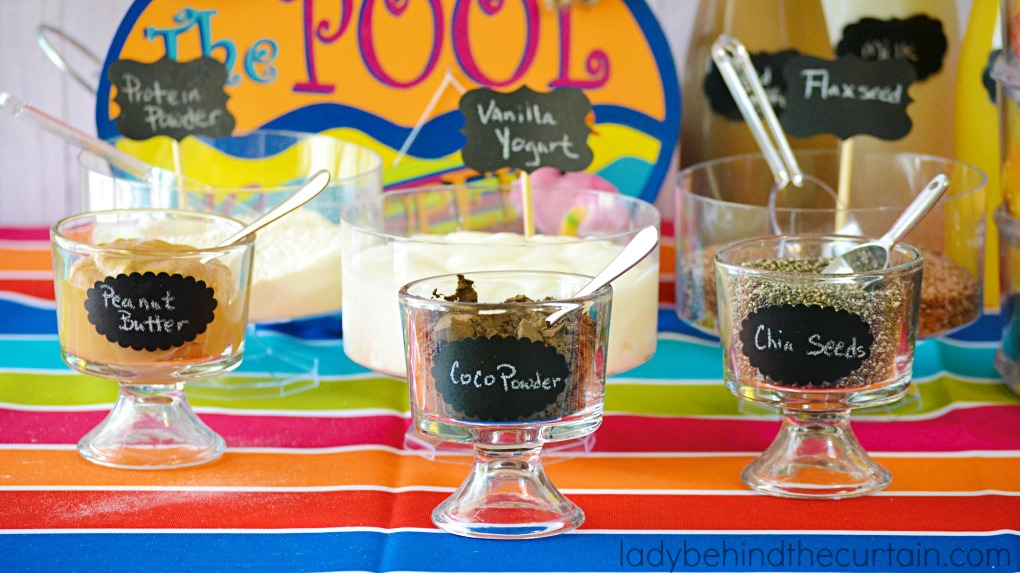 Have fun and set up a Splash Smoothie Bar at your next pool party for all your family and friends.
