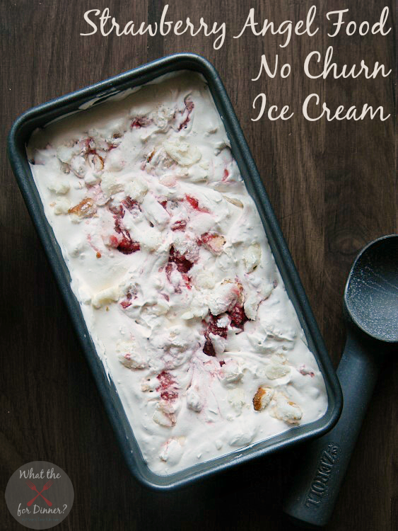 Strawberry Angel Food No Churn Ice Cream | MomsTestKitchen.com via LadyBehindtheCurtain.com