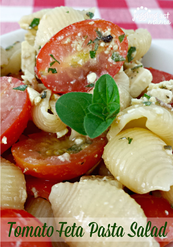 Tomato Feta Pasta Salad from Juggling Act Mama