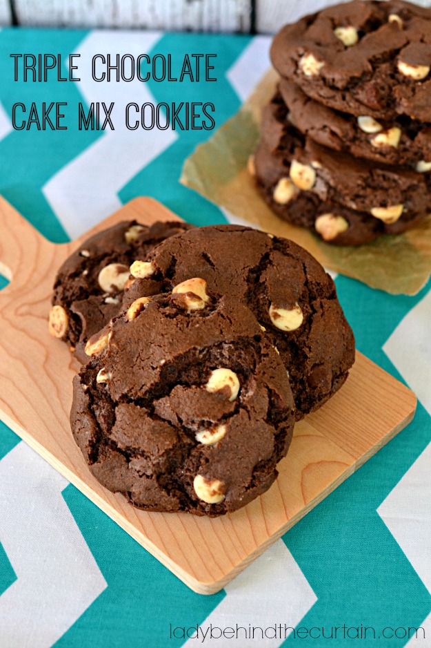 Triple Chocolate Cake Mix Cookies - Lady Behind The Curtain