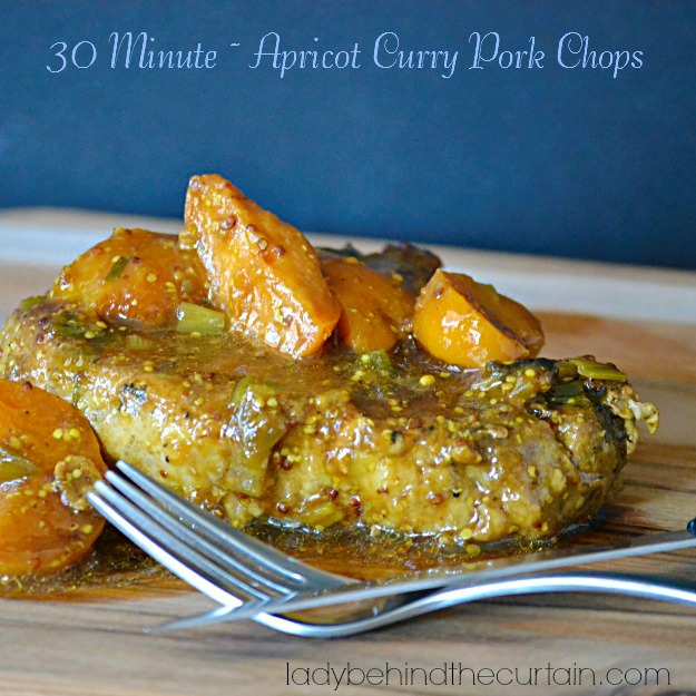 30 Minute Apricot Curry Pork Chops - Lady Behind The Curtain
