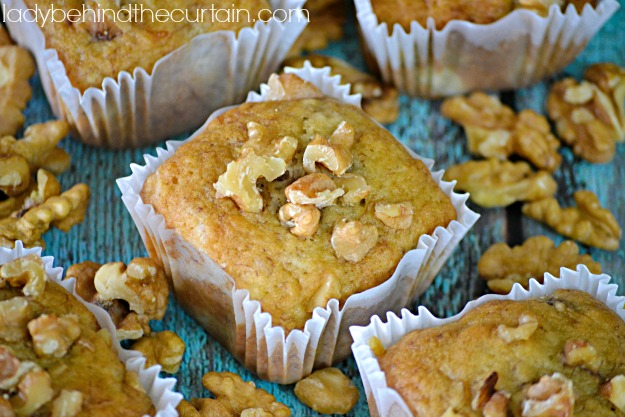 Banana Nut Muffins - Lady Behind The Curtain