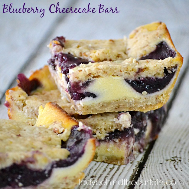 Blueberry Cheesecake Bars - Lady Behind The Curtain