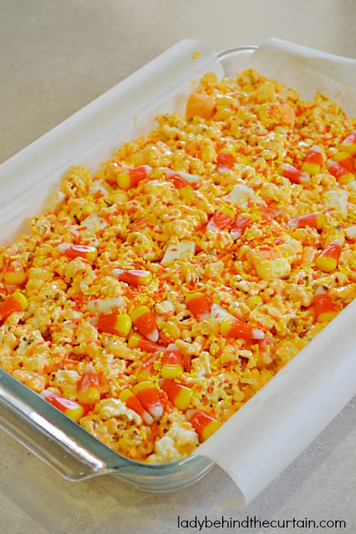 Candy Corn Popcorn Chewy Bars - Lady Behind The Curtain