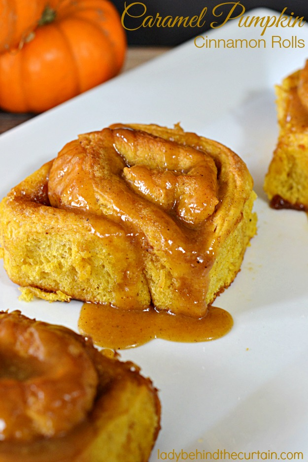 Caramel Pumpkin Cinnamon Rolls - Lady Behind The Curtain
