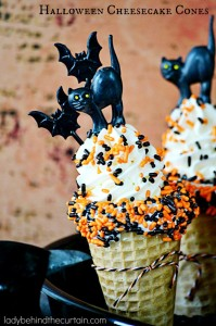 Halloween Cheesecake Cones - Lady Behind The Curtain