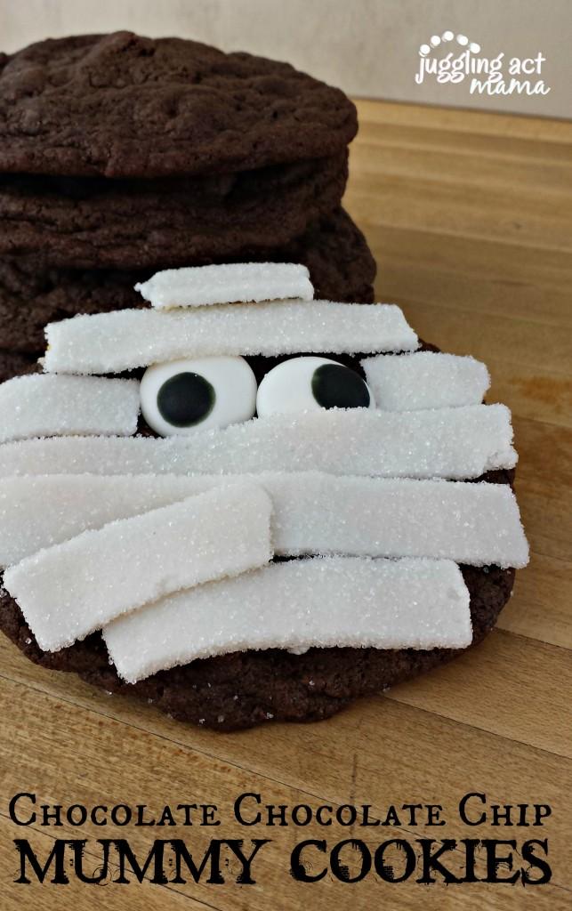 Chocolate Chocolate Chip Mummy Cookies