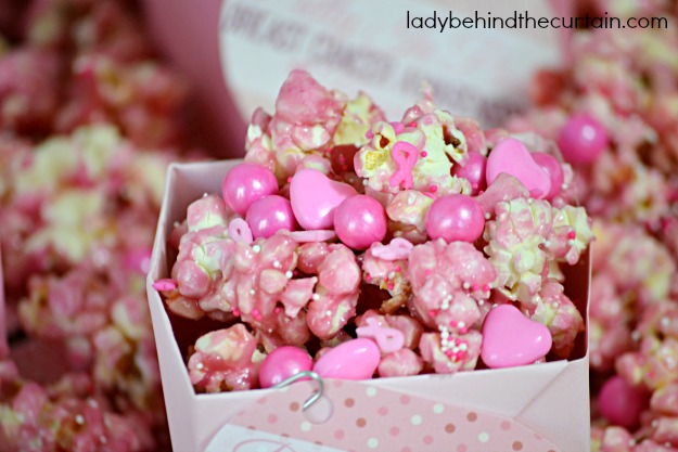 Pretty In Pink Breast Cancer Awareness Popcorn - Lady Behind The Curtain
