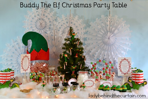 buddy the elf christmas party table lady behind the curtain - Elf Christmas Decorations