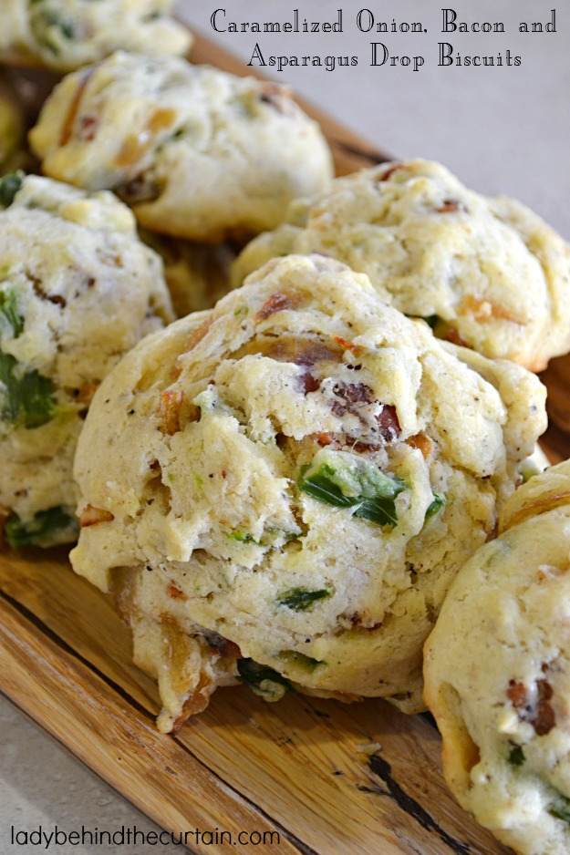 Caramelized Onion, Bacon and Asparagus Drop Biscuits - Lady Behind The Curtain