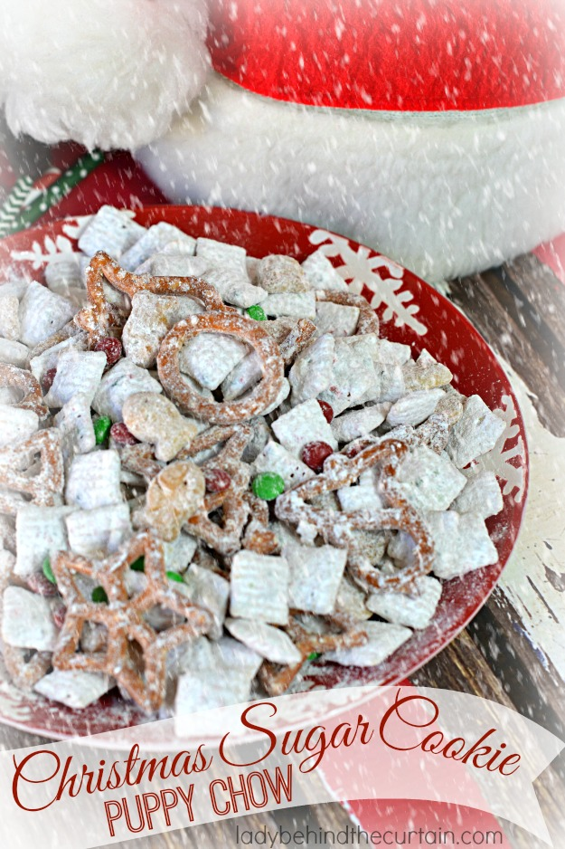 Christmas Sugar Cookie Puppy Chow - Lady Behind The Curtain
