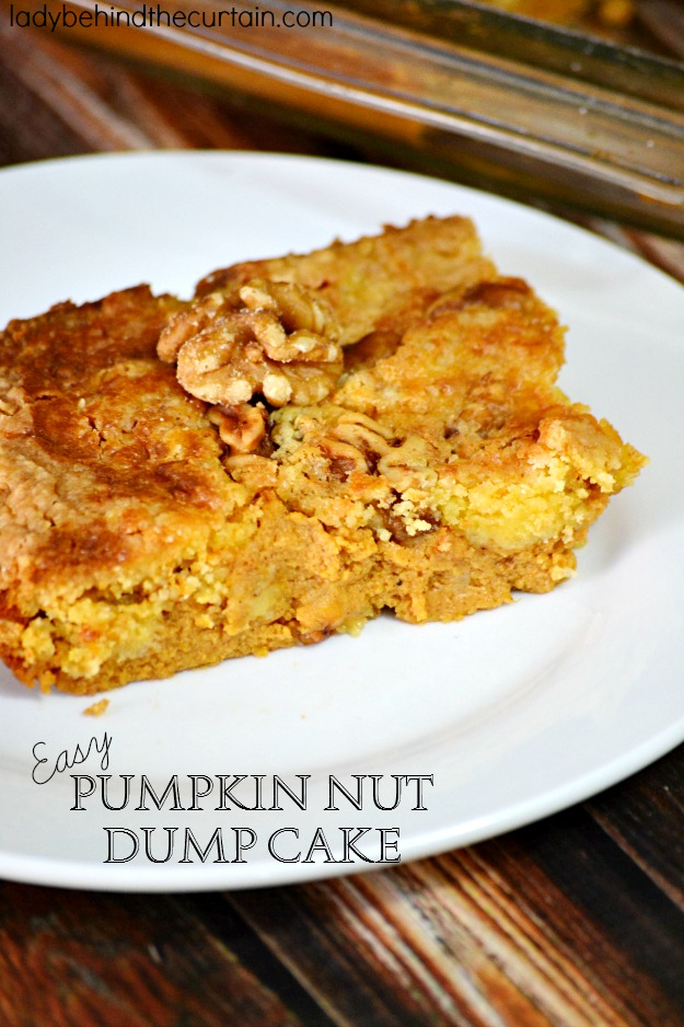 Nut Dump Cake has a creamy pumpkin base topped with a yellow cake ...