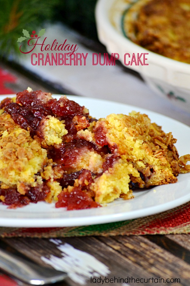 Holiday Cranberry Dump Cake - Lady Behind The Curtain