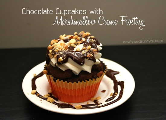 chocolate-cupcake-with-marshmallow-creme-frosting