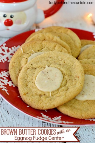 Brown Butter Cookies with an Eggnog Fudge Center