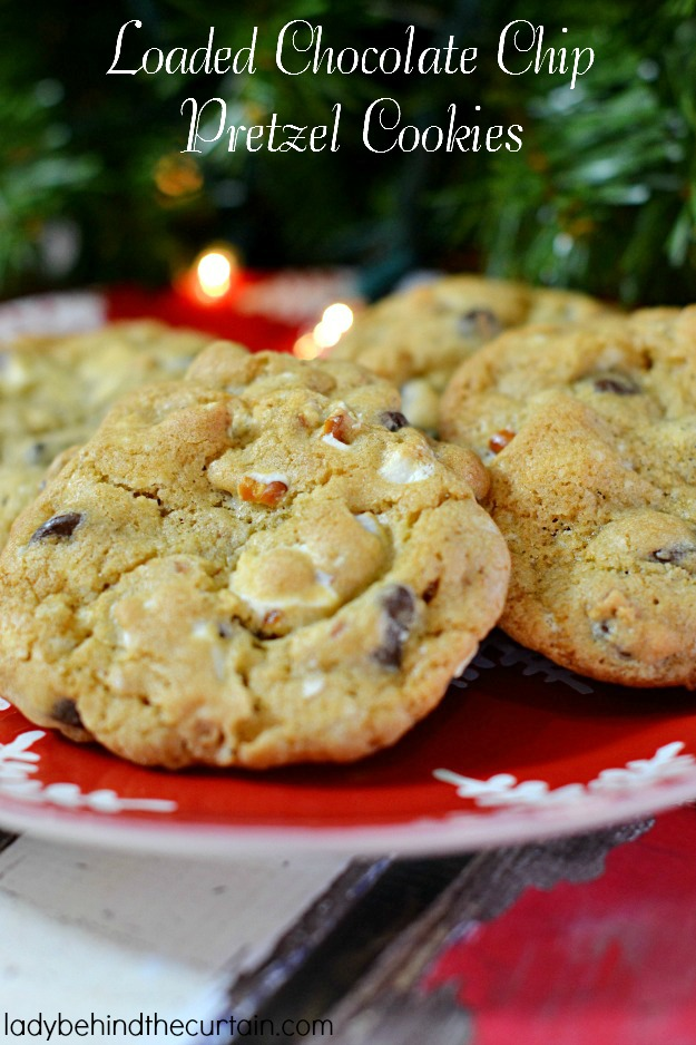 Loaded Chocolate Chip Pretzel Cookies - Lady Behind The Curtain