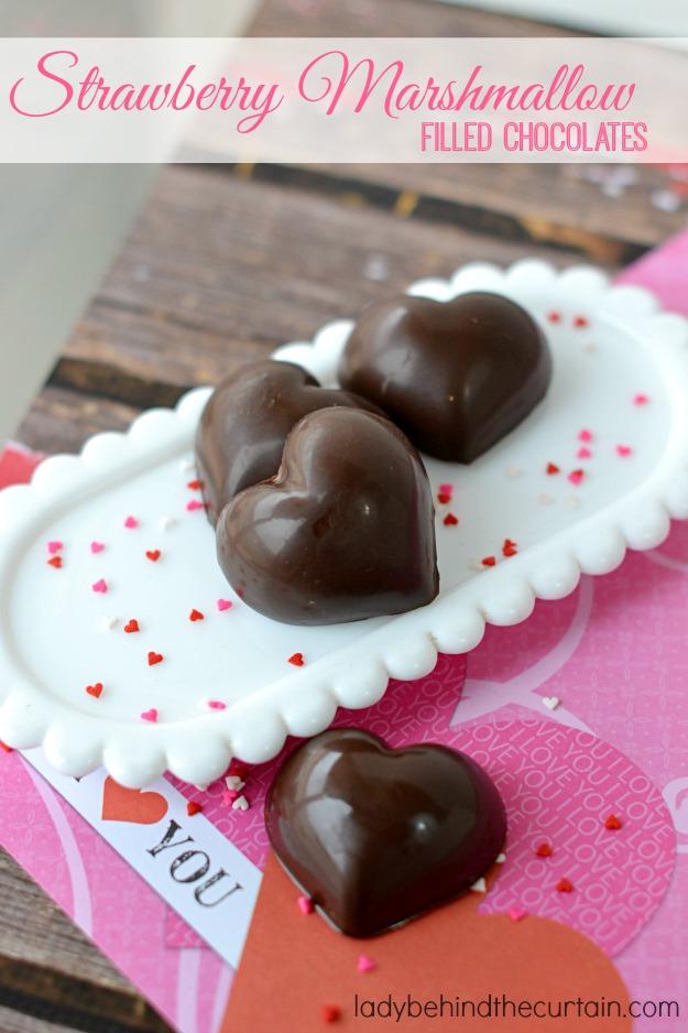 Strawberry Marshmallow Filled Chocolates - Lady Behind The Curtain