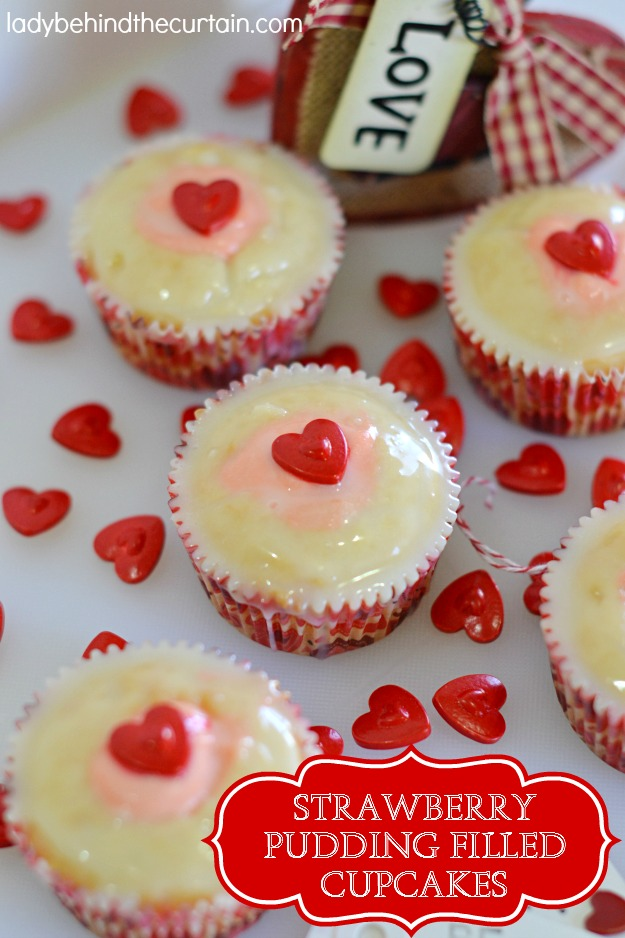 Strawberry Pudding Filled Cupcakes - Lady Behind The Curtain