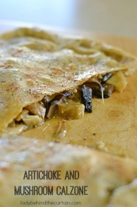Artichoke and Mushroom Calzone - Lady Behind The Curtain