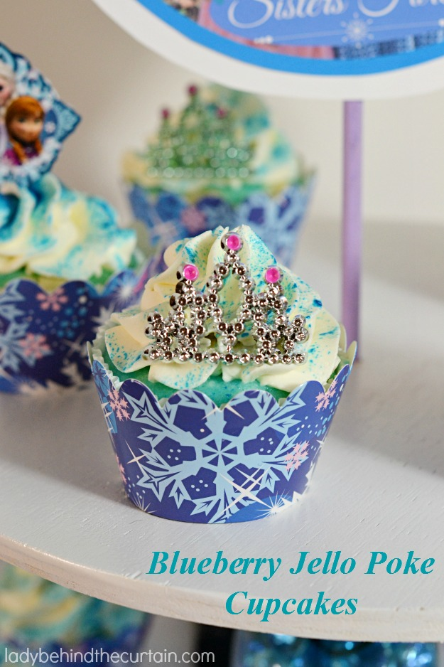 Blueberry Jello Poke Cupcakes - Lady Behind The Curtain