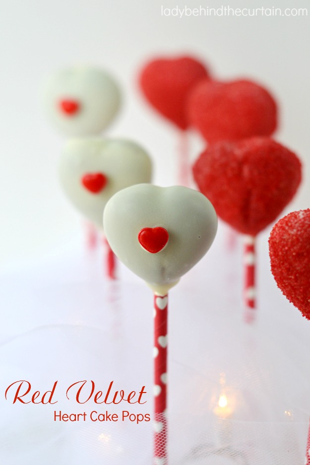 Red Velvet Heart Cake Pops - The perfect Valentine's Day Dessert.