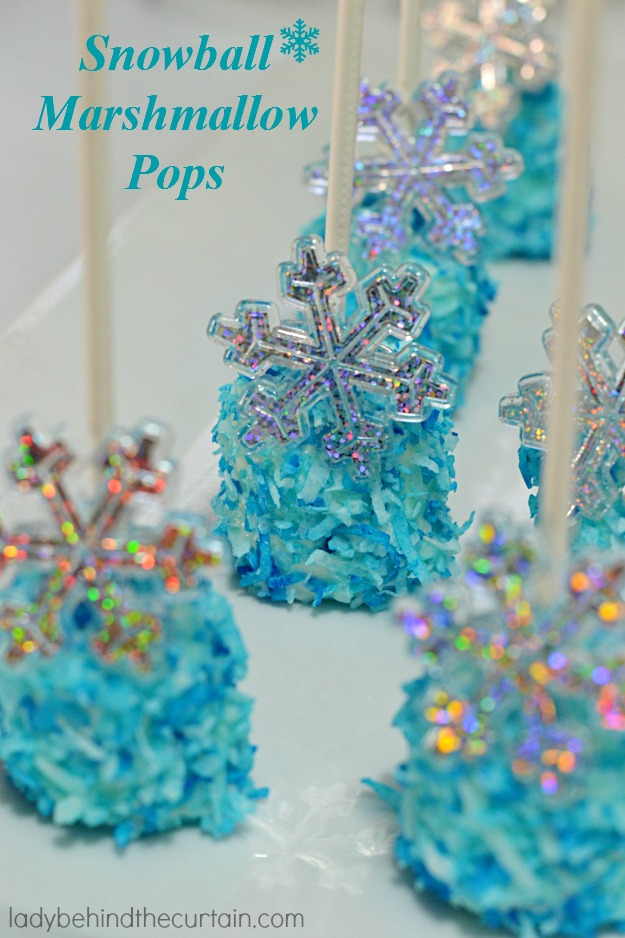 Snowball Marshmallow Pops - Lady Behind The Curtain