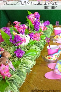 Tinker Bell Woodland Party Guest Table - Lady Behind The Curtain