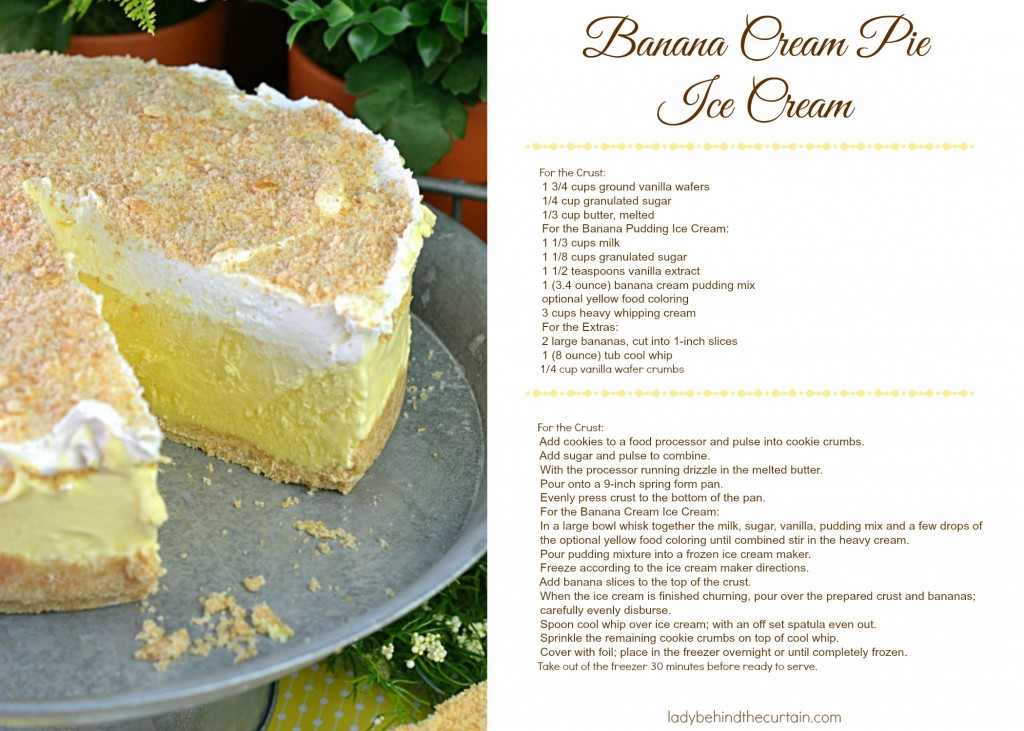 Banana Cream Pie Recipe Card