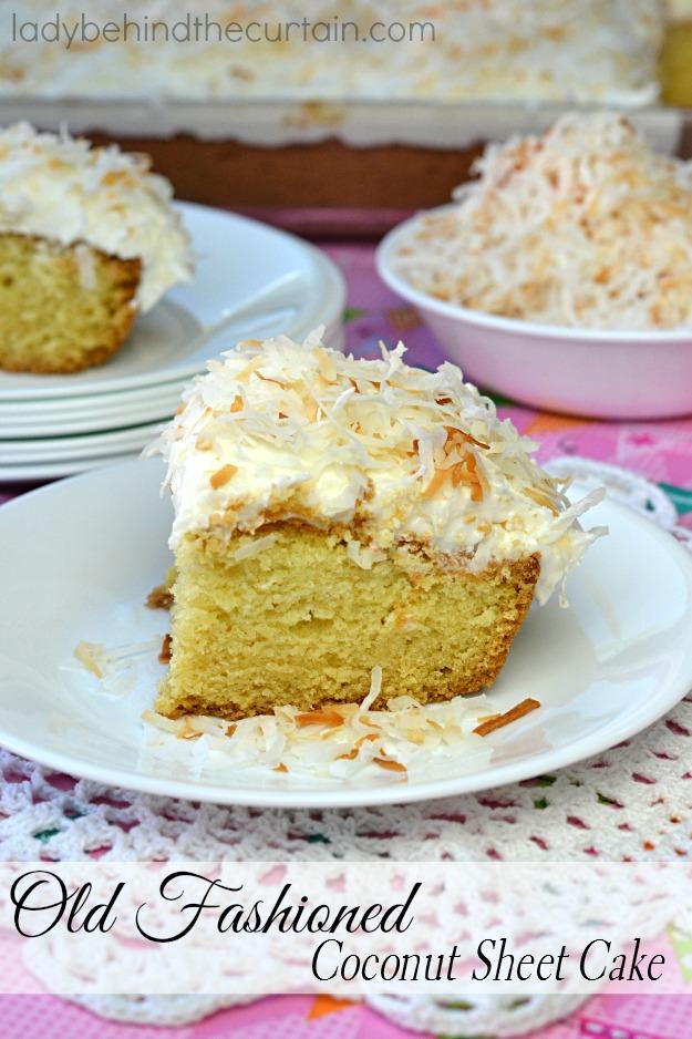 The cake we all grew up eating. A dense moist cake full of coconut flavor.