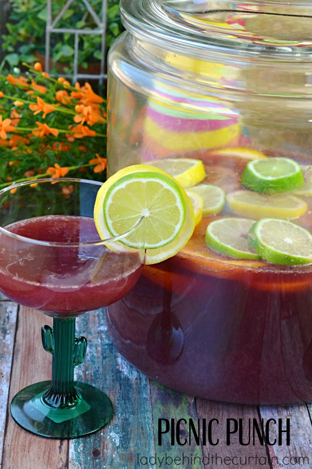 Grape juice, limeade and orange juice come together with lemon lime soda to make the perfect take along punch.