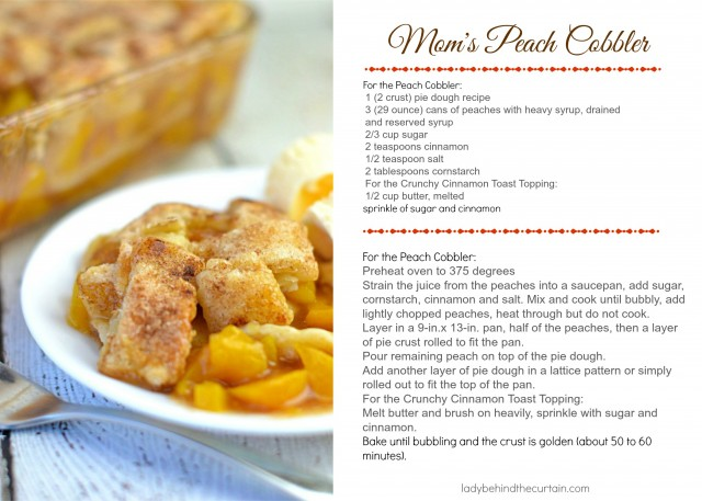 Mom's Peach Cobbler Recipe Card